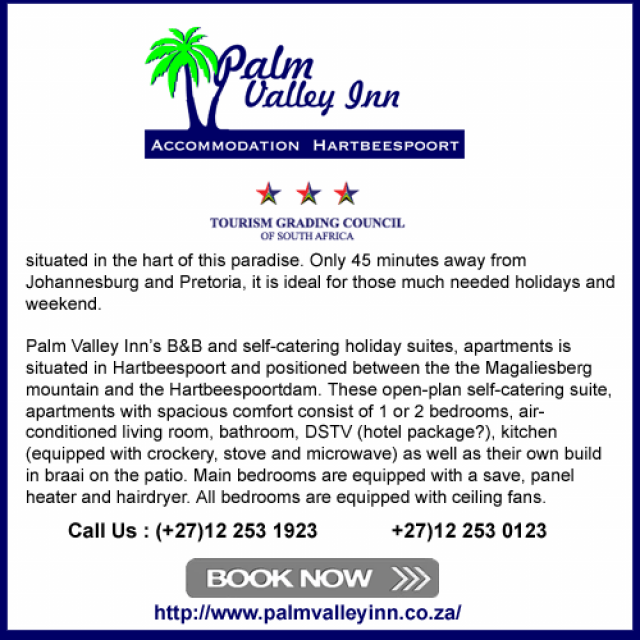 Palm Valley Inn Tel:012 253 0123